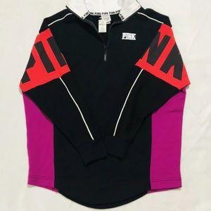 VS PINK Quarter Zip Pullover Sweatshirt Black L